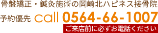 骨盤矯正・鍼灸施術の岡崎北ハピネス接骨院 予約優先 電話0564-66-1007
