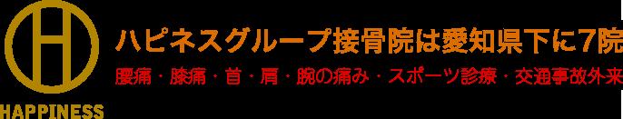 ハピネスグループ接骨院は愛知県下に7院 腰痛・膝痛・首・肩・腕の痛み・スポーツ診療・交通事故外来